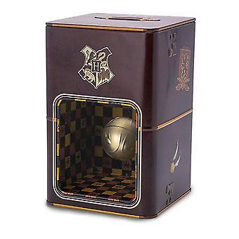 Harry Potter pengeboks gyldne Snitch 3D illusion trykt, lavet af metalplade og plast, i gave wrap.