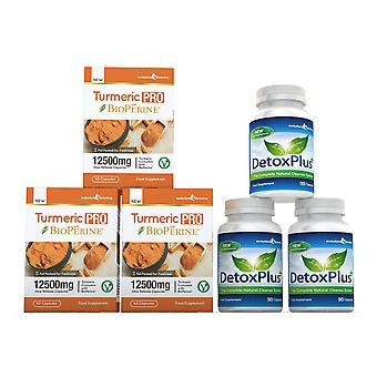Turmeric Pro with BioPerine and DetoxPlus Combo Pack - 3 Month Supply - Dietary Supplement and Cleanse - Evolution Slimming