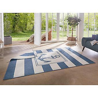 Tapis réversible plat tissé intérieur et extérieur Gandara Blue