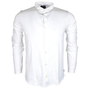 Emporio Armani 8n1ch6 Baumwolle mit Knöpfen unten weiße Langarm-Polo-Shirt