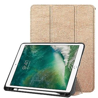 For iPad Air 3 (2019) Case,Karst Texture PU Leather Folio Cover,Pen Slot,Gold