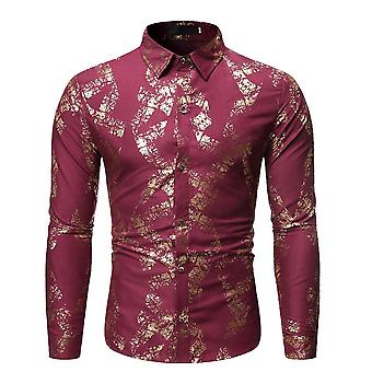 Alle Themen Men's Floral Shirt Gold gemusterte Druck Button Down Kleid Shirts