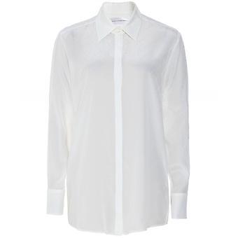 Chemise Victoria Beckham Silk Blend Jacquard Logo Split Sleeve