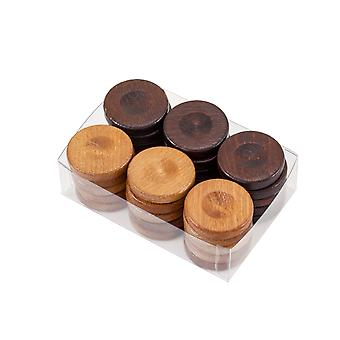 Wooden Backgammon Stones Natural & Brown 36mm