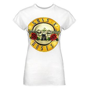 Ενισχυμένα πυροβόλα όπλα Ν τριαντάφυλλα τύμπανο άσπρες γυναίκες's t-shirt