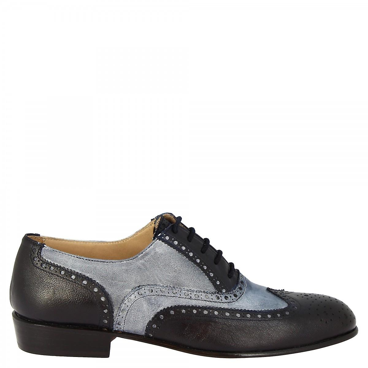 Leonardo Shoes Women's Handmade Classy Oxford In Gray Blue Goat Leather