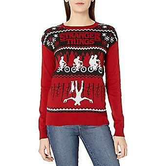 Netflix Women-apos;s Ugly Christmas Sweater, Upside Down/Red, Large