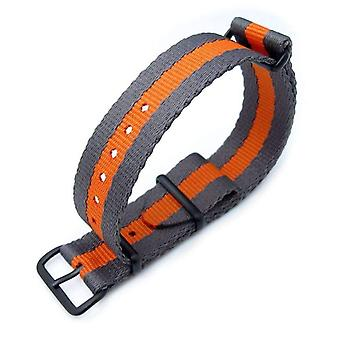 Strapcode n.a.t.o watch strap miltat 20mm g10 military nato watch strap, sandwich nylon armband, pvd black - grey & orange stripes