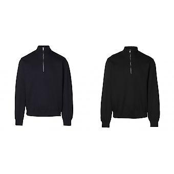ID Мужские трикотажные половину флиса пуловер Zip