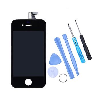 Măr Iphone 4 4g Negru Plin LCD Display + Touch Ecran Digitizer Față Pahar Lentilă Parte Assembled Together Cu Unealtă
