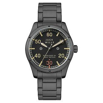 Jack Wills Watches Jw012bkgn Overland Black & Gunmetal Grey Stainless Steel Men's Watch