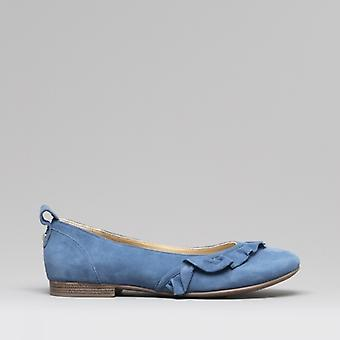 Hush Puppies Willow Ladies Suede Ballerina Shoes Blue