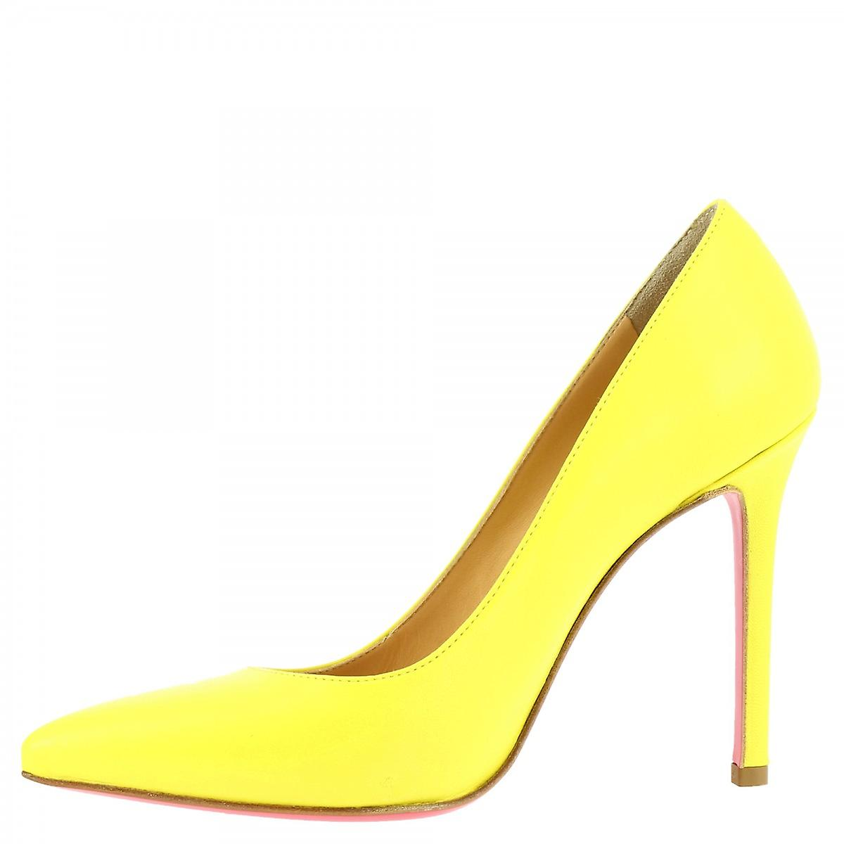 Chaussures Leonardo Women-apos;s chaussures à talons hauts faites à la main en cuir de veau jaune