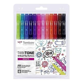 Marqueurs Tombow TwinTone 12pc ensemble couleurs vives 19-WS-PK-12P-1