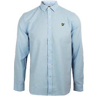 Lyle & scott men's pool blue cotton linen shirt