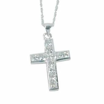 The Olivia Collection Sterling Silver Cz Cross Pendant on 16 Inch Chain