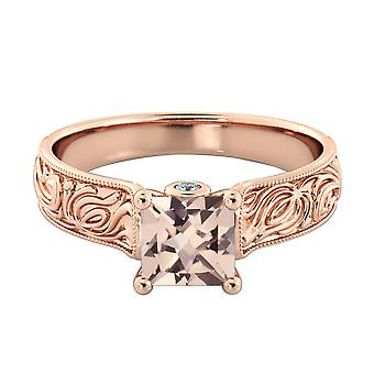 3.06 CTW natural peach/pink VS Morganite Ring with Diamonds 14k Rose Gold Vintage Hand Engraved