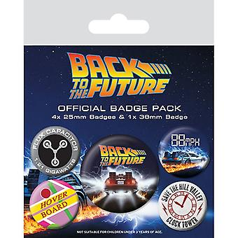 Back To The Future Delorean Pin Button Badges Set