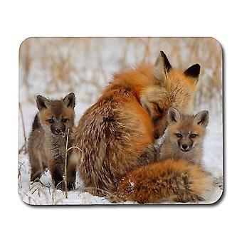 Fox Mom & Cub Mouse Pad