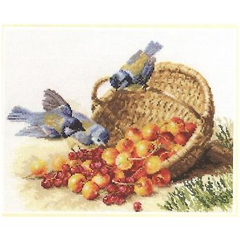 Alisa Cross Stitch Kit - Chickadees and Sweet Cherries