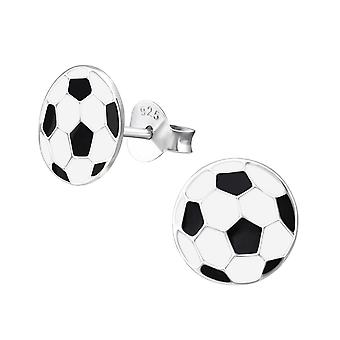 Football - 925 Sterling Silver Colourful Ear Studs - W12089x