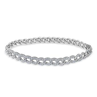 Anklet Pave Diamonds 18K Gold - Weißgold