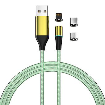 Oplaadkabel met LED-en-stofstekker - MicroUSB/USB-C/Lightning - Groen