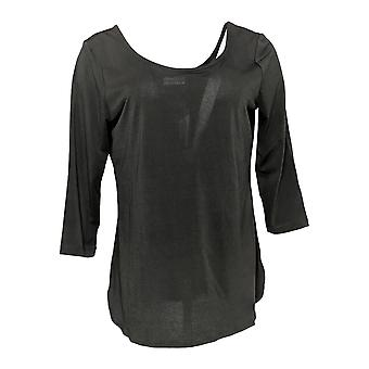 Women with Control Women's Top Double-Scoop Moss Crepe Knit Black A287125