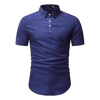 Allthemen Letné Pánske&apos, s klopě Obchodné Ležérne krátky-rukávmi jednofarebné pulóver Topy T-Shirt