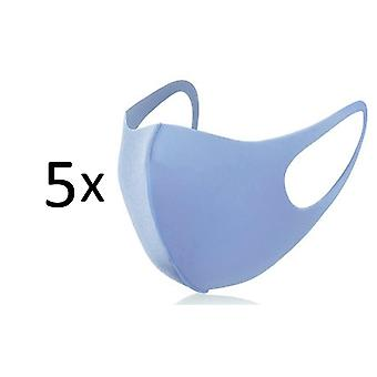 5 Pack Face Mouth Mask, Washable Reusable Anti Dust Mask, Light Blue