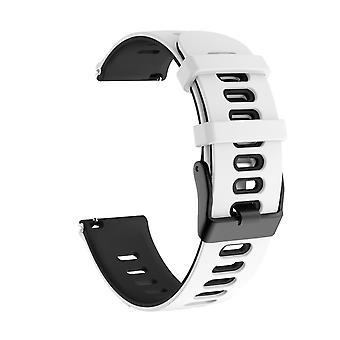 Bracelet pour TicWatch Pro 22mm silicone blanc/noir