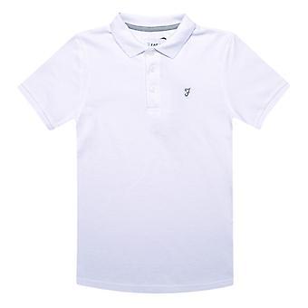 Boy's Farah Junior Bugsworth Polo Camisa en blanco