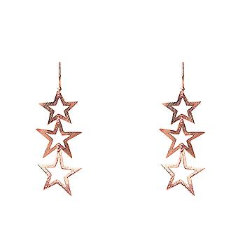 Latelita Sterling Silber Triple Haken Star Drop Ohrringe Rose Gold Plain Metal