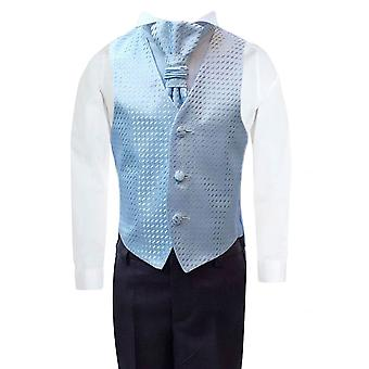 男の子ブルー結婚式チョッキ スーツ セット