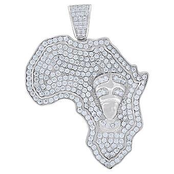 925 Sterling Silver Mens CZ Kubieke Zirconia Nefertiti Egyptische Afrika Kaart Charm Hanger Ketting Maatregelen 50 Sieraden Gift