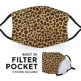 Cheetah Print - Reusable Childrens Face Masks - 2 Filters Included