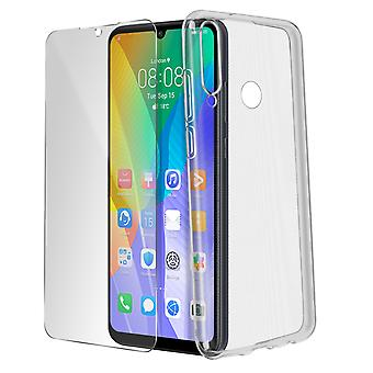 Capac Huawei Y6p Soft Silicon și 9H Clear Tempered Glass Screen Protector