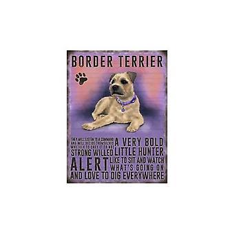 Border Terrier Hanging Metal Sign