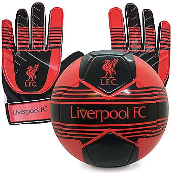 Liverpool FC Official Junior Gift Set Size 4 Football & Goalkeeper Goalie Gloves