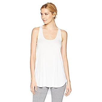 Brand - Mae Women's Loungewear Racerback Tank Top, White, Small