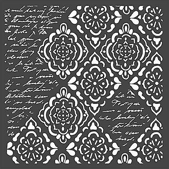 Stamperia paksu kaavain 18x18cm taustakuva Rhombus ja writtings