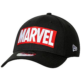 Marvel Brand Logo BLACK Label New Era 39Thirty Fitted Hat