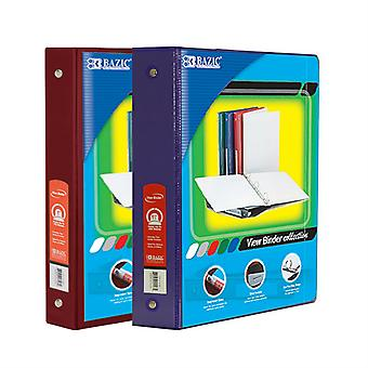 Combo76, BAZIC 1.5 Inch 3-Ring View Binder with 2-Pockets (Case pack of 24 consist 12-Burgundy & 12-Purple)