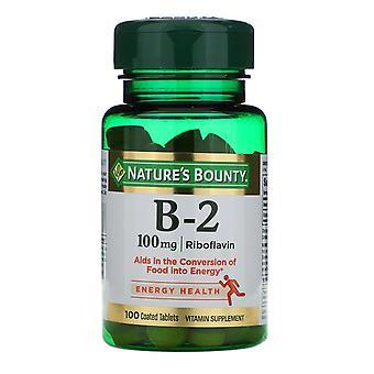 Nature's Bounty, Vitamin B-2, 100 mg, 100 Coated Tablets
