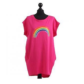 Womens Rainbow Print Dipped Hem Top | Fuchsia | One Size (UK 14-20)