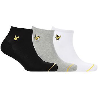 Lyle and Scott Ross 3 Pack Trainer Socks - White/Grey Marl/Black
