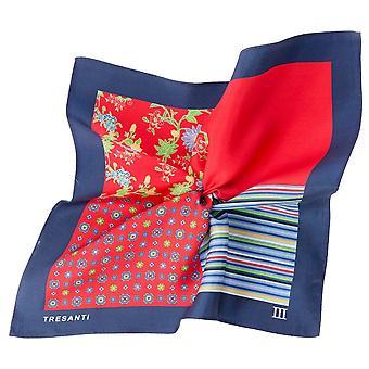 Ties Planet Tresanti Navy Blue & Red 4-way Silk Pocket Square Handkerchief