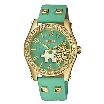 Rebel Women-apos;s RB111-9121 Gravesend Crystals Puzzel-piece Dial Teal Leather Watch