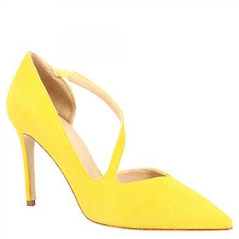 Leonardo Shoes Women's handgemaakte hoge stiletto hiel pumps schoenen in geel suède leer