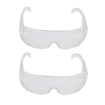 2pcs Protective Eyewear Safety Glasses Impact Resistant Lens White